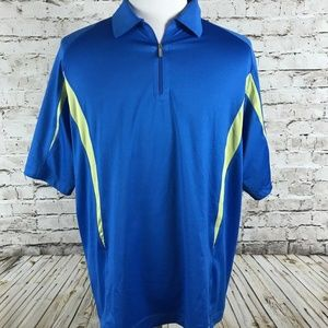Men's Nike Golf Quarter Zip Polo Shirt Size L Blue